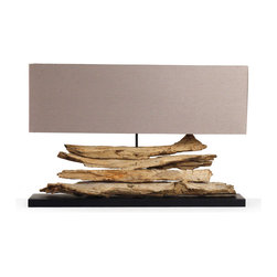 Kathy Kuo Home - Riverine Natural Driftwood Modern Rustic Long Console Lamp - An enduring appreciation for organic materials and a sleek interpretation of modern design make the Riverine Grand lamp an elegant addition to rustic, contemporary, and even Asian influenced interiors. Giving nature a permanent place in the home, this lamp is characterized by a stack of natural driftwood upon a black wood base. Completed by a soft brown taupe shade, it is scaled to be the perfect fit for console tables, lamp tables and mantels.