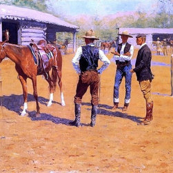 """Frederic Remington Buying Polo Ponies in the West - 16"""" x 24""""  Print - 16"""" x 24"""" Frederic Remington Buying Polo Ponies in the West premium archival print reproduced to meet museum quality standards. Our museum quality archival prints are produced using high-precision print technology for a more accurate reproduction printed on high quality, heavyweight matte presentation paper with fade-resistant, archival inks. Our progressive business model allows us to offer works of art to you at the best wholesale pricing, significantly less than art gallery prices, affordable to all. This line of artwork is produced with extra white border space (if you choose to have it framed, for your framer to work with to frame properly or utilize a larger mat and/or frame).  We present a comprehensive collection of exceptional art reproductions byFrederic Remington."""