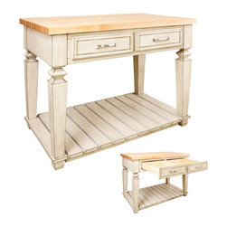 "Inviting Home - Newbury Kitchen Island (antique white) - Newbury kitchen island cabinet in antique white finish; 45-15/16"" x 28-1/6"" x 34-1/4""; 1-3/4"" hard maple butcher block top (03) sold separately; This table style kitchen island with open shelf is manufactured using the highest quality furniture grade hardwoods and MDF. The kitchen island features two deep working drawers on one side and a false front on the reverse. Drawers are dovetail solid hardwood and are mounted on under mount full extension soft close slides. Decorative hardware is included with this item. French White finish is applied by hand. Hard maple butcher block top (03) sold separately."