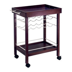 Winsome Wood - Portable Wine Serving Cart in an Dark Espress - Serve yourself and your guests in style with this portable wooden wine serving cart with silver metal accents. Elegantly finished in a rich espresso tone, this serving cart features two handles and casters for mobility, mirrored top tray, lower storage shelf, and wine rack. Display and entertain with grace and ease by adding beautiful cart to your home! Unique mirrored wine cart offers rack storage for up to ten bottles of wine. Finished in a rich espresso, this wine cart is a perfect match to our espresso sofa and end table collection. * Portable, with two handles for mobility. Holds up to ten bottles. Two storage shelves. Finished in rich dark espresso. 33.25H x 30W x 18.5D