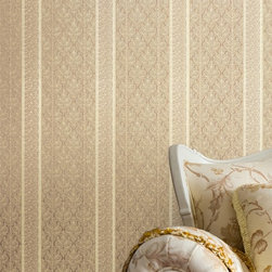 Ercole Cream Brocade Stripe Wallpaper - Illuminate your room in a stunning brocade striped wallpaper. A radiant texture of cream and gold, ignites in your room an ornamented splendor.