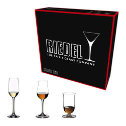 Riedel - Riedel Vinum Spirits Tasting Set Glasses - Set of 3 - Hold your own tasting. Each boxed set contains one of each of the Vinum Cognac Hennessy, Single Malt Whisky and Tequila glass.
