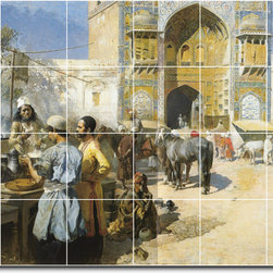 Picture-Tiles, LLC - An Open Air Restaurant Lahore Tile Mural By Edwin Weeks - * MURAL SIZE: 48x72 inch tile mural using (24) 12x12 ceramic tiles-satin finish.