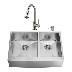 """VIGO Industries - VIGO All in One 36-inch Farmhouse Stainless Steel Double Bowl Kitchen Sink and F - Add some sophistication to your kitchen with a VIGO All in One Kitchen Set featuring a 36"""" Farmhouse -  Apron Front sink, faucet, soap dispenser, two matching bottom grids and two strainers."""