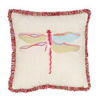 Safavieh Home Furniture - Beige Decorative Dragonfly Pillow Set of Two - - Inspired by an 18th century entomological print Azure Demoiselle this Rising Dragonfly 18-inch Beige / Red Decorative Pillows (Set of 2) updates the state of the art with fuchsia dragonfly crafted of a variety of embroidery stitches and embellished with curly multicolor chenille fringe. Cream background with accents of red green and blue is blended into the pillow fabric consisting of a lovely blend of linen and cotton.   - Beige  - Some assembly required - Yes  - Please note this item has a 30-day manufacturer's limited warranty that covers product defects. Inspect your purchase upon delivery and notify us immediately with any concerns. Safavieh Home Furniture - PIL819A-1818-SET2