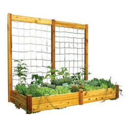 Gronomics 48L x 95W x 13H in. in. Raised Garden Bed with Trellis Kit - The Gronomics 48L x 95W x 13H in. in. Raised Garden Bed with Trellis Kit is the perfect way to create a garden everyone can enjoy. This kit features a modular raised bed and trellis addition for versatile gardening. Its cedar construction makes it naturally resistant to weather, insects, and mold. Easy to assemble, it allows for climbing plants to reach for the sky and other flowers and veggies to thrive. The raised bed reduces the need for weeding and soil amending. Just assemble, fill, and let your garden grow!About GronomicsWith Gronomics, you no longer need a big yard to do your gardening. The Minnesota-based company manufactures unique, ergonomically designed 100% Western Red Cedar garden planters that offer tool-free assembly. Gronomics makes everything from elevated beds, raised beds, planter benches and much more, all of which are designed to make gardening easy and more accessible for all ages. Herbs, vegetables and flowers can all be tended to while standing or sitting and the company's unique designs even allows easy access for those in wheelchairs.
