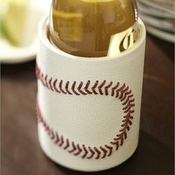 "Baseball Leather Bottle Cooler - Get ready for game time with this whimsical leather cooler. It's detailed with baseball-style stitching and fully insulated to keep beverages cold. 3"" diameter, 4.5"" high Made of leather with a polysuede lining and woven nylon thread. Monogramming is available at an additional charge. Monogram will be placed on one side of the cooler. Catalog / Internet Only."