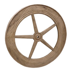 """Kathy Kuo Home - Rustic Lodge Reclaimed Elm Wood 40"""" Large Wheel Wall Decor - This unique piece of wall art reinvents the wheel. Made of reclaimed wood, it was inspired by a belt drive used in textile mills, and offers a rustic yet refined touch to your interiors — perfect in your den, family room or office."""
