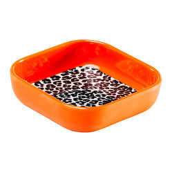 "4"" Square Snack Dish - Orange Leopard"
