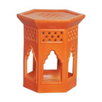 Morac Hex Garden Stool - This ceramic garden stool has such a unique Moroccan design that I really like. A perfect accent piece indoors or out.