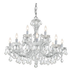 Crystorama - Crystorama 4479-CH-CL-MWP Chandelier - There's undeniable magic when light meets crystal or glass. It sparks the same fire one sees when light meets precious and semi-precious stones. Great lighting often takes styling cues from jewelry as well, with its primary use of gold and silver tones. J
