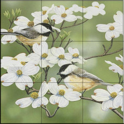 The Tile Mural Store (USA) - Tile Mural - Springtime and Chickadees  - Kitchen Backsplash Ideas - This beautiful artwork by William Vanderdasson has been digitally reproduced for tiles and depicts a pair of chickadees in a tree.    Images of backyard birds on tiles are great to use as a part of your kitchen backsplash tile project or your tub and shower surround bathroom tile project. Pictures of cardinals on tile, blue jays on tiles and robbins on tiles make a great kitchen backsplash idea. Bring the outdoors in with a birds of the backyard tile mural. You can use a tile mural with birds in the bathroom too for your shower tile project. Consider a tile mural colorful birds for any room in your home where you want to add interest to a plain tile wall area.