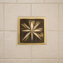 """4"""" Solid Brass Wall Tile with Star Design - Offered with an optional tile frame, this 4"""" solid brass wall tile features a graceful, star burst design that will add style and sophistication to your kitchen or bath."""