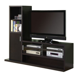 Monarch Specialties - Monarch Specialties Entertainment Center in Cappuccino - This contemporary wall unit will add style and functionality to any living room with its sleek straight lines and deep cappuccino finish for a warm and inviting look. The hollow-core structure allows for a large center television opening and five spacious lower shelves that are perfect for electronics components. Attached on one side is more storage space in the form of two shelves and a generously sized cabinet, which are great for displaying picture frames, DVD's and stowing away desired objects. What's included: Media Unit / TV Stand (1).