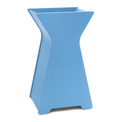 Loll Designs - Hourglass Planter, Sky Blue, Large - Who says you have to be a square when it comes to designing containers? Our friend Steve Cozzolino created this whimsical look that will add a depth and inspiration to your garden. The large hourglass Container will make quite a statement as a front door piece. Available in two sizes.