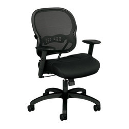 Hon - Basyx HVL712 Mesh-Back Work Chair - This fully adjustable work chair is sturdy, stylish and shapely. The mesh back has an hourglass shape that cradles your form while allowing air to circulate. And the contoured, padded seat will keep you happy and productive.