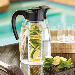 Frontgate - Flavor-it 3-in-1 Beverage System - Made from BPA-free Tritan material. Three different inserts for chilling, infusing, or steeping. 3-quart pitcher. No-spill locking lid. An eco-friendly alternative to infused bottled beverages. Infuse the flavor of fruit, herbs, or spices into your favorite drinks with this innovative 3-quart beverage system. Fill the infusion chamber with fresh ingredients to create refreshing beverages like blueberry iced tea, sangria, cucumber-lime water, and more. Simply swap in the tea infuser attachment to brew loose tea or ground coffee – either hot or cold. Also includes a chill core attachment filled with a nontoxic gel that freezes like water to keep beverages cold without diluting the flavor.. . . . . Dishwasher safe.