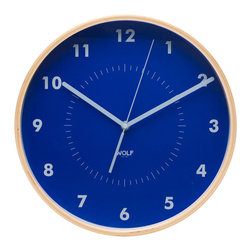 "WOLF - 12"" Wall Clock, Blue - Simplicity and minimalism characterize this medium-size wooden wall clock. This stark, contemporary design features a 12"" white dial contrasted with black hands and sans-serif numberingperfect for viewing from across the room."