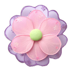 Bugs-n-Blooms - Hanging Flower X-Large Pink Purple Green Hailey Nylon Flowers Decor Baby Nursery - Hanging Hailey Flower - Beautiful nylon hanging kids wall or ceiling decor, baby decoration, childrens decorations.  Ideal for Baby Nursery Kids Bedroom Girls Room.  This nylon fabric daisy is embellished with sparkling flower & round shaped sequins and have a different colored top petal, bottom petal and fabric center to make this a unique designed daisy flower.  Ideal for Baby Nursery Kids Bedroom Girls Room.  This pretty daisy flower decoration is made with a soft bendable wire frame. Beautiful 3D hanging nursery, bedroom, birthday party, baby shower or wedding decor.  Includes a piece of fishing line and hoop for easy hanging to any wall or ceiling (removable if desired).  Sold individually.  Visit our store for more great items.  Additional sizes are available in various colors, please see store for details.  Please visit our store on 'How To Hang' for tips and suggestions.  Please note: Sizes are approximate and are handmade and variances may occur.  Price is per each flower (1) piece