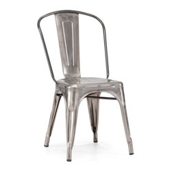 Zuo Modern - Elio Chair Gunmetal - Sold in Sets of 2 - As seen in many bistros across France, the Eilo dining chair is a classic piece used for generations. The chair is electrical plated.