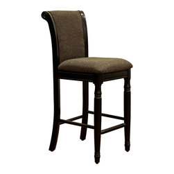 None - French Roast Chenille Fabric Upholstered Barstool - Create a cozy atmosphere at the kitchen counter or home bar with this upholstered chenille barstool. This stool features a solid wood frame with a black finish and brown upholstery for an eye-pleasing aesthetic that feels homey and welcoming.