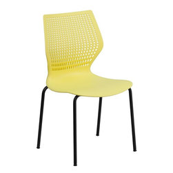 Flash Furniture - Hercules Series Designer Yellow Stack Chair with Black Frame - This multi-purpose stack chair fits in a multitude of environments. This chair will make a great reception, meeting, office, and classroom or break room chair. The deeply curved back provides excellent comfort to your lumbar area while also providing airflow. No matter what the function this multi-use chair will bring out the best in your event.