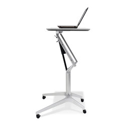 Jesper Office Furniture - 201 Series Height Adjustable WorkPad Table in White Lacquer - Features: