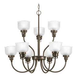 Progress Lighting - Progress Lighting P4690-74 Archie Nine Light Two-Tier Up Lighting Chandelier - Features: