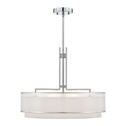 Modern Nickel Double Organza Possini Euro Pendant Chandelier -