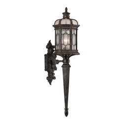Fine Art Lamps - Devonshire Outdoor Wall Mount, 414681ST - This romantic-looking outdoor sconce lantern looks like it belongs at the entrance to some storied English manor. Beautifully shaped and detailed, it achieves an authentic aged look with textured seedy glass panels and a mottled bronze and antique gold finish.