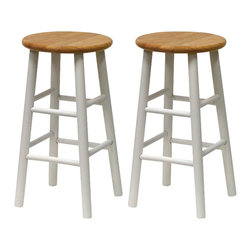 """Winsome - Winsome Basics 24"""" Counter Height Bar Stools in White and Natural (Set of 2) - Winsome - Bar Stools - 53784 - Two classic stools for one low price! Best deal on the web!"""