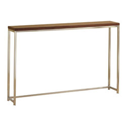 "TFG Furniture - Ogden Console Table 10"" Wide - TFG Furniture Ogden Console Table 8 x 48. Ogden Console Table 8 x 48. Thinner profile frame perfect for smaller spaces. Frames are 3/4"" brushed stainless steel tube. Safari wood top is 1"" thick veneered. Corners are smooth and absolutely seamless. No assembly required. Wipe clean with damp cloth."