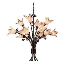 ELK Lighting - Twelve Light Aged Bronze Hand Blow Tulip Glass Up Chandelier - Twelve Light Aged Bronze Hand Blow Tulip Glass Up Chandelier