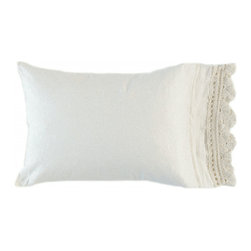 "Bella Notte Linens - Bella Notte Linens Linen with Crochet Standard Pillowcase - Bella Notte Linens linen pillowcase trimmed with crochet lace. White. Standard cases are sold individually. 20"" x 33"". Part of quick ship program. Ships in 2-3 weeks."