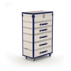 Zentique - Tiffany 5-Drawer Cabinet with Lid - The Tiffany 5 Drawer Cabinet features 5 drawers with a top lid made of off-white vinyl, navy vinyl trim, and stainless steel trim on casters for mobility.