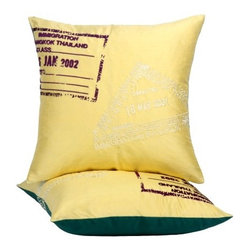Blissliving Home - Thailand Passport Pillow - Features: -Thailand passport pillow. -Material: Silk Dupioni. -Dream of Bangkok and you dream in color. -Feather down insert included. -Bold yellow reverses to brilliant emerald green. -With passport motifs printed and embroidered skipping here and there, all around. -Hidden zipper closure. -Dry clean only.