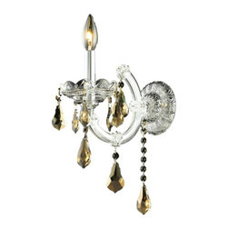 "PWG Lighting / Lighting By Pecaso - Karla 1-Light 8"" Crystal Wall Sconce 2381W1C-GT-RC - Karla was an Empress from 1740 to 1780 in the waning days of the Baroque period. The Baroque love of embellishment is highlighted in the elaborate crystal swags and drops that fully dress these fixtures in a look that is pure luxury. From the gold or chrome finish to the fully lavish crystal dressing, this Karla collection represents opulent sophistication."