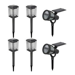 Malibu Lighting - 6-Piece Prominence Kit - Cast metal construction with fluted glass lens in gun metal gray finish.  Kit contains 4 solar lights and 2 spotlights.