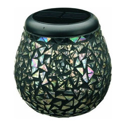 STI - STI 3770WRM1 Glass Mosaic Solar T-Light, Mirror - 3770WRM1 Glass Mosaic Solar T-Light, Black Mirror-Decorative lighting ideal for tabletops for your garden, patio or deck-Mosaic glass creates pleasing lighting effects on any surface-In winter, or during prolonged periods of dull weather, you can still enjoy these by replacing the solar light with a standard tea light or candle-Powered by an integral solar panel-The replaceable, rechargeable Ni-MH battery gives up to 8 hours of light each night when fully charged.Need more information on this product? Click here to ask.Dimensions: 4.5″ x 4.5″ x 4.7″.