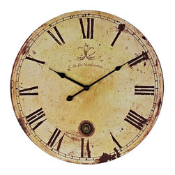 """Modway - Vintage Wall Clock in Tan - Chart your course through world history with this antique-looking piece. Vintage Expression features a time-aged clock face that suffuses the twelve Roman numerals and black metal hands. Produced as an affordable work of distinction for quiet and serene settings, sail your way to a more enriching decor. Includes: One - Vintage Expression Wall Clock; Hourly Roman numerals; Classic black hands; Requires one AA battery; Quartz movement; Dimensions: 18""""L x 18""""W x 2""""H"""
