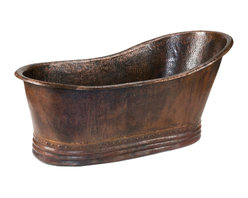 Premier Copper Products - Hammered Copper Single Slipper Bathtub - Create a haven for yourself with this beautiful, copper-hammered slipper bathtub. You'll be transported to another century each time you slip into this romantic tub. And the natural antimicrobial properties of copper keep germs at a distance. Pour in the bubbles and ring for champagne!