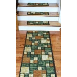 """Dean Flooring Company - Washable Carpet Stair Treads - Hop Scotch Terra Cotta PLUS a Matching 5' Runner - Washable Carpet Stair Treads - Hop Scotch Terra Cotta PLUS a Matching 5' Runner : Hop Scotch Terra Cotta Washable Stair Treads! From the industry leader in carpet stair treads. We have been producing quality carpet stair treads for more than fifteen years. Protect stairs and steps in style and comfort with good looking, long wearing stair treads. Rectangle shaped, finished edge style in durable long-lasting nylon quality construction. Perfect for heavily trafficked areas. Washable non-skid foam rubber back. Cuts down on track-in dirt. Helps you and your pets navigate your slippery stairs. Attractive. Extends the life of your hardwood stairs. Edges are serged with color matching yarn. Easy do-it-yourself installation (use double-sided carpet tape - not included). Each tread is approximately 25"""" WIDE x 9"""" LONG! Set includes 13 stair treads PLUS a matching five foot long runner!"""