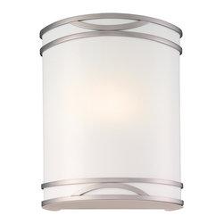 Minka Lavery - Minka Lavery 371-PL Brushed Nickel 1 Light Wall Sconce - White Acrylic Shade
