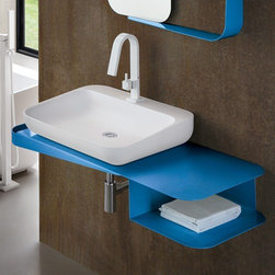 Arblu - Tulip Sink Console | Arblu - Made in Italy by Arblu.The sturdy construction and eye-catching design of the Tulip Sink Console makes it simply irresistible in modern bathrooms. This durable console is made from painted steel that comes complete with an integrated towel bar on one side and a deep shelf on the other. Ideal for storage of towels, toiletries, accessories, and more; this striking console will add unwavering function and optimal organization to your bathroom. Select the ideal color for your luxury bath space. Also available in a drawer version. Product Features: