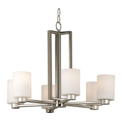 Kenroy Home - Kenroy Home 10186BS Six Light Up Lighting Chandelier from the Encounters Collect - Current and contemporary- words that easily describe the Encounters family. Cylindrical white opal glass shades seated on smaller brushed steel cups give Encounters its uniquely sleek look. The expertly crafted rectangular arms and column complete this effortlessly chic family.