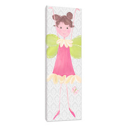 "Doodlefish - Cami Stretched Canvas - Cami is a whimsical little fairy that is a signature of Doodlefish Artist Regina Nouvel.  With quirky pigtails and a pretty pink dress she is ready to watch over your little girl  The backdrop of this stretched canvas artwork is a soft grey damask pattern.  This pattern travels across all three pieces of this collection along with a pink and green butterfly.  The piece is finished 12x36. It is also available mounted and framed. Framed, the finished piece measures 16"" x 40""."