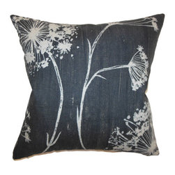The Pillow Collection - Garuahi Floral Pillow Noir - - Comes standard at 18 x 18  - Reversible pillow with same fabric on both sides  - Includes a hidden zipper for easy cover removal and cleaning  - Comes standard with a down pillow insert  - All four sides have a clean knife-edge finish  - Pillow insert is 19 x 19 to ensure a tight and generous fit  - Cover and insert made in the USA  - Spot cleaning recommended  - Fill Material: Down  - Pillow cover made of Cotton The Pillow Collection - P18-D-20922-NOIR-C100