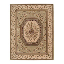 "Nourison - Nourison Versailles Palace VP10 5'3"" x 8'3"" Sage Area Rug 49695 - Enlighten your home with the wit and beauty of classic French design. This distinguished rug, at once playful and restrained, is salon-ready for rooms that love to entertain. In tasteful sage and ivory with sparkling ruby embellishments, its strong geometric elements are softened by swirling foliate lines."
