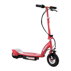 Razor - E100 Watt Electric Scooter - With the power of electricity, you can go places! The new and improved Razor E100 Electric Scooter provides powerful fun at speeds up to 10 mph! An easy to use twist grip throttle controls the speed, and a high torque motor propels you to where you need to go. Features: -Electric scooter. -Ideal for ages 8 and up. -Twist grip acceleration control. -Hand operated front brake. -Rechargeable battery. -Eight inch pneumatic tire. -Handlebar folding mechanism. -Adjustable handlebar height. -UL approved battery charger and tools included. -Decorations may vary. -Speeds up to 10 mph. -Up to 40 minutes of continuous use. -High torque motor. -Variable speed chain drive. -125mm polyurethane rear wheel. -Maximum rider weight 120 lbs.