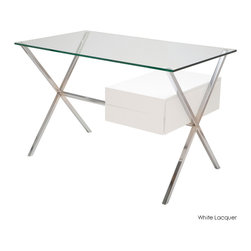 Nuevo Living - Xavier Desk, White Lacquer - The desk — completely re-envisioned for your favorite modern setting. A thick glass top sits cleanly above an X-frame base of chromed stainless steel, while the drawer most definitely thinks outside the box.